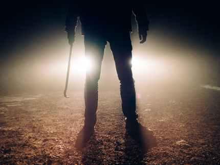 man lights legs silhouette